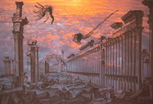Röd himmel over Palmyra hems